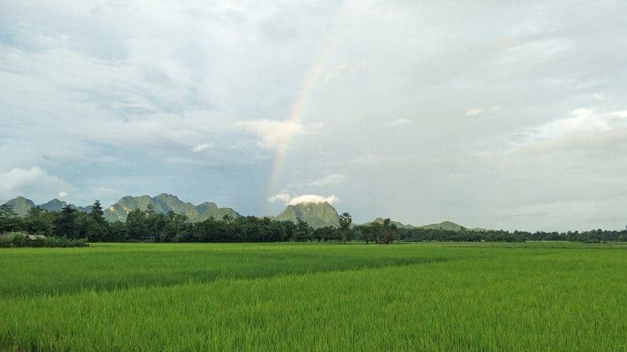 A rainbow over the rice fields in Hpa An, Myanmar.