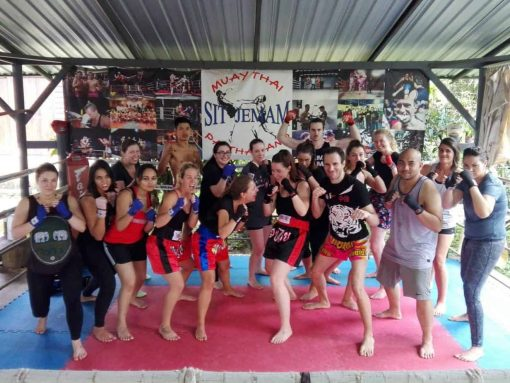 A group of Muay Thai students at Sitjemam Muay Thai Gym Pai, Thailand