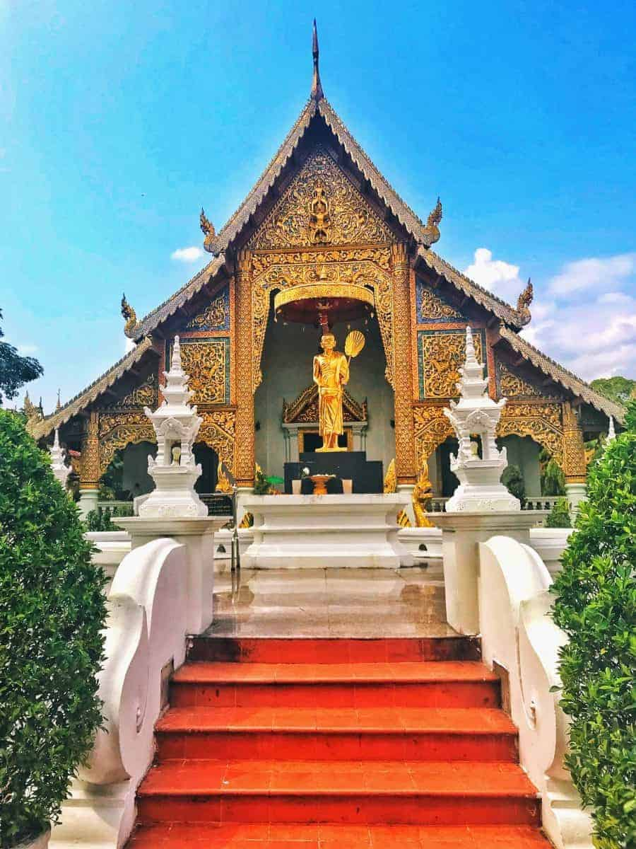 The red steps leading up to beautiful Wat Phra Singh, Chiang Mai.