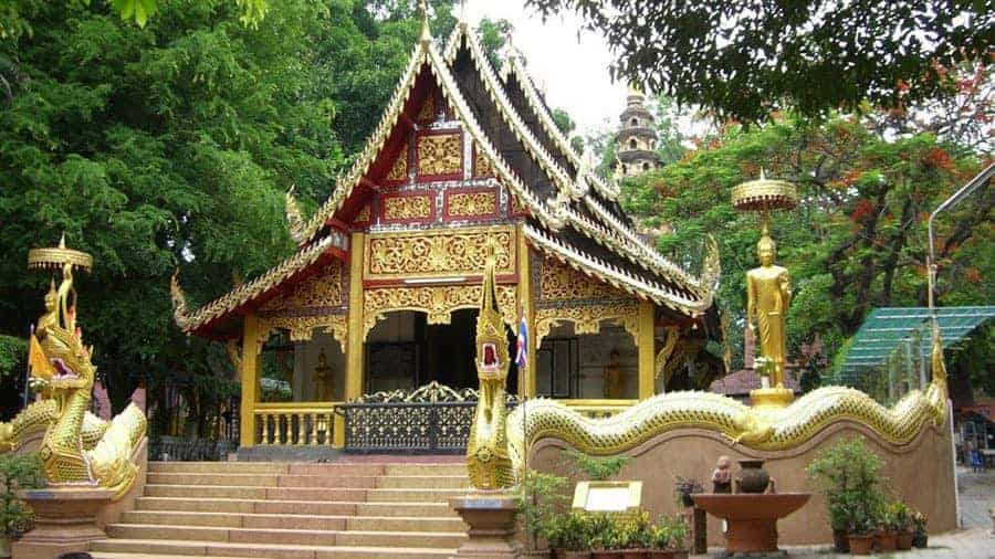 Ornate statues and intricate designs adorn the grounds at the Northern Insight Meditation Centre in Northern Thailand