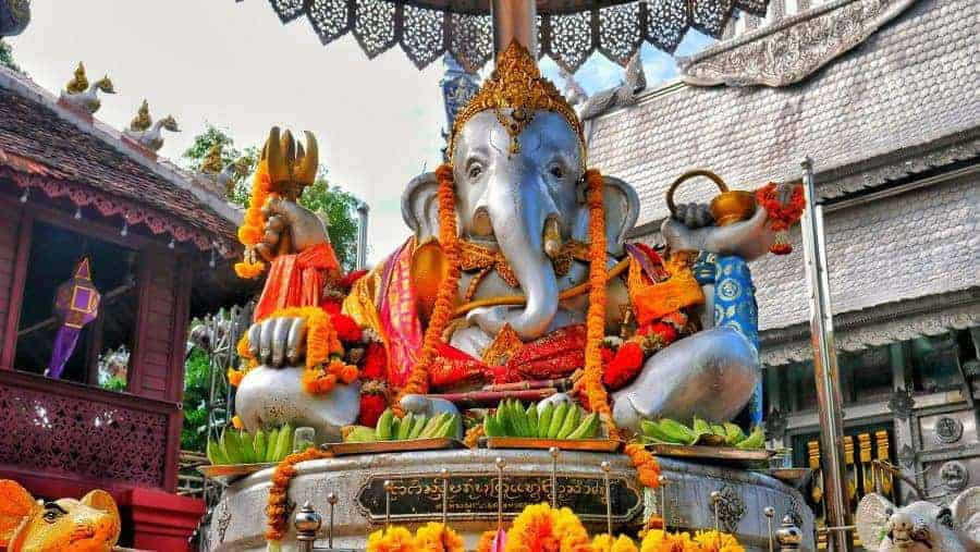 Silver elephant statue at Sri Suphan Temple, Chiang Mai.