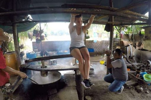Learning how to make Khmer Noodles Cambodia