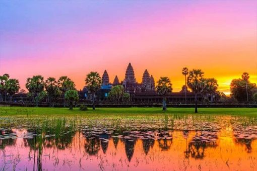 Sunrise over the temples at Angkor Wat