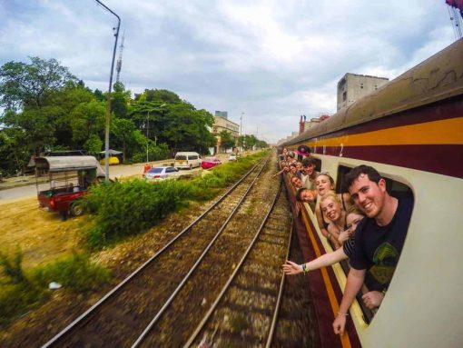 Travelling on a train in Thailand