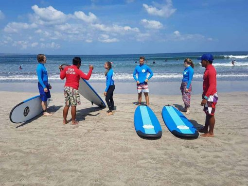 Surf lessons in Bali, Indonesia.