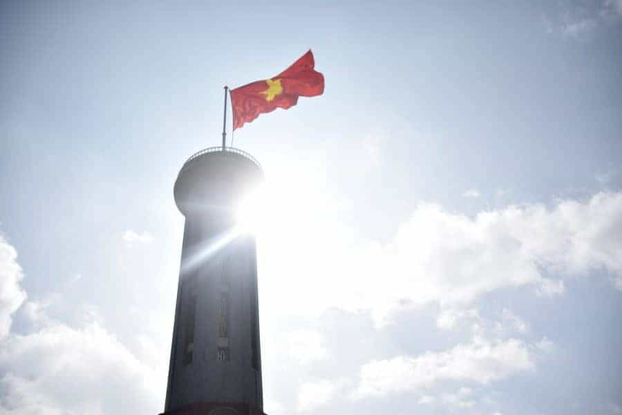 The Lung Cu Flag Tower partially blocks the sun