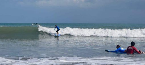 Learning to surf in Bali.