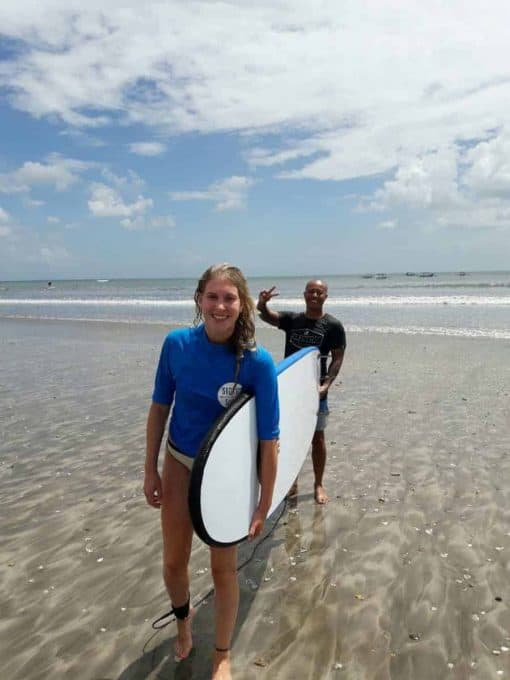 Learning to surf in Bali, Indonesia.