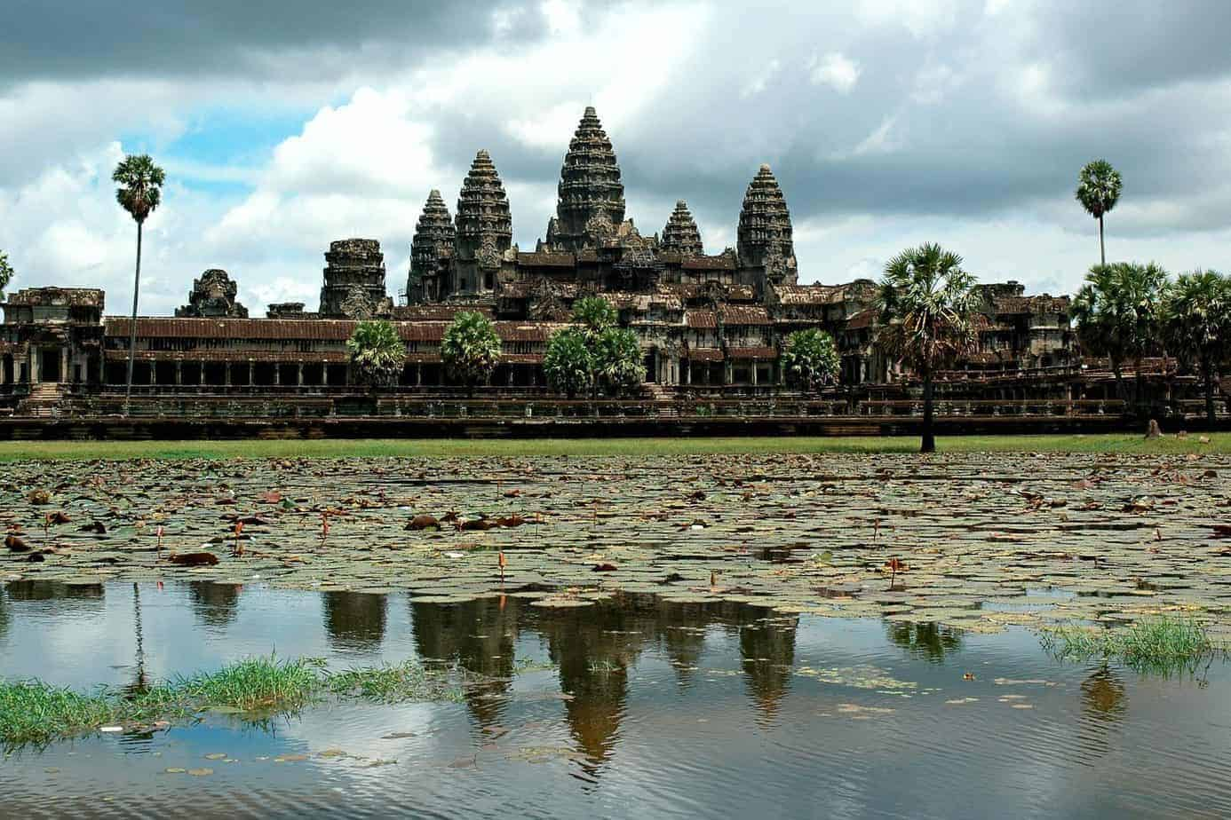 Angkor Wat, Cambodia, the largest religious monument in the world.