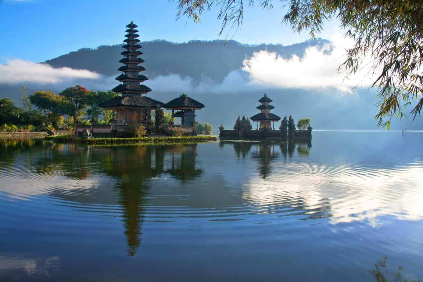 A temple by a lake in Bali, Indonesia.
