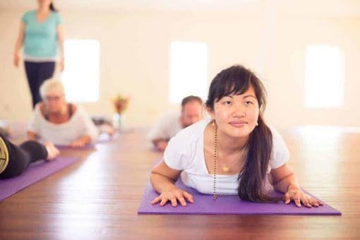 """Yoga during """"The Art of Living"""" Retreat."""