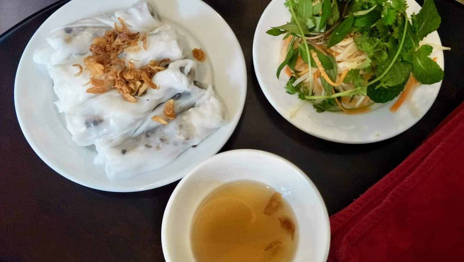 Rice rolls and salad for breakfast at the Mint Café in Hanoi.