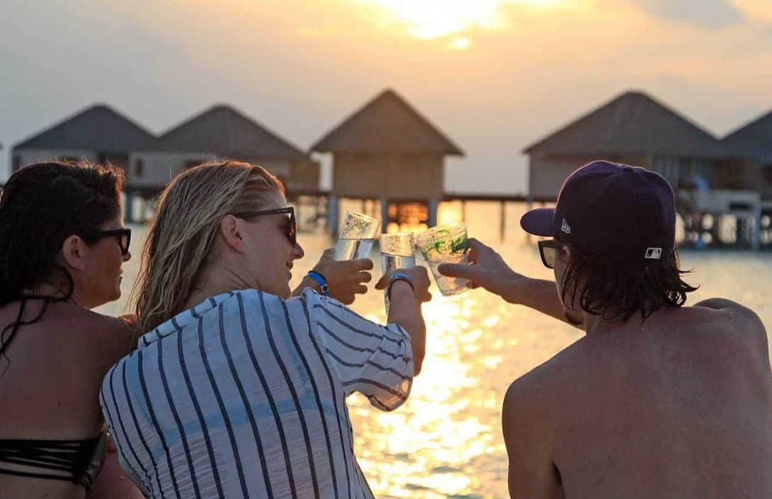 Drinks with new friends on the Maldives Group Tour!