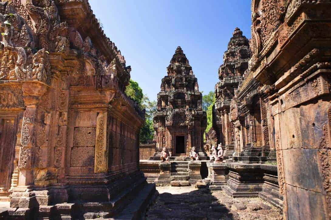 The magnificent temples of Angkor Wat in Siem Reap, Cambodia. This is Banteay Srei temple
