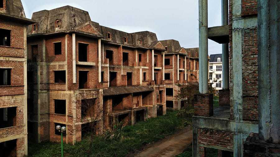 A view of an abandoned street from the first floor of one of the buildings.