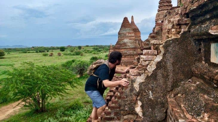 Scrambling up one of the smaller temples in Bagan, August 2017.