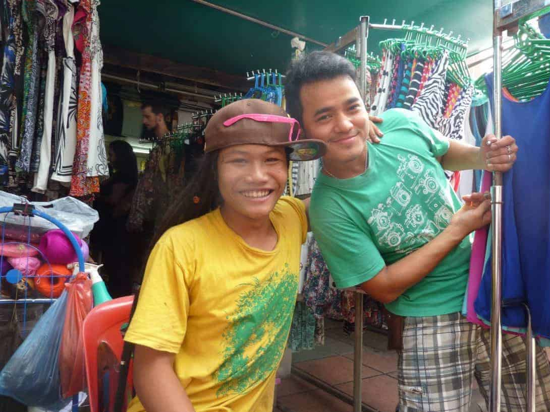 Some of the characters selling clothes on Khao San Road
