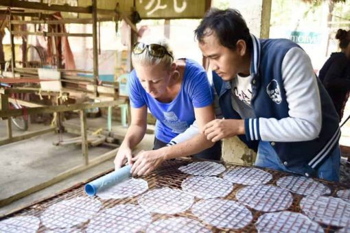 Learning how to make rice paper in Battambang, Cambodia
