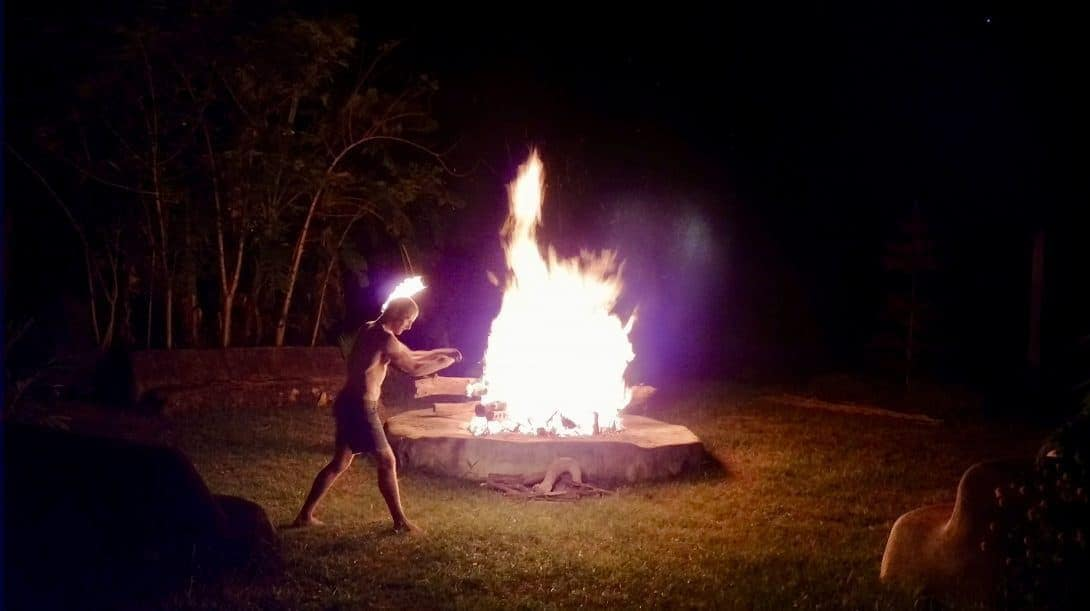 One of the local residents at Rak Tamachat entertains us with fire dancing