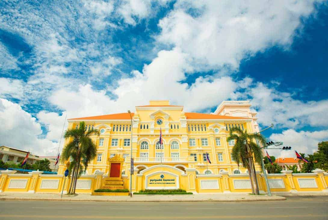 The old colonial Post office building in Phnom Penh, Cambodia