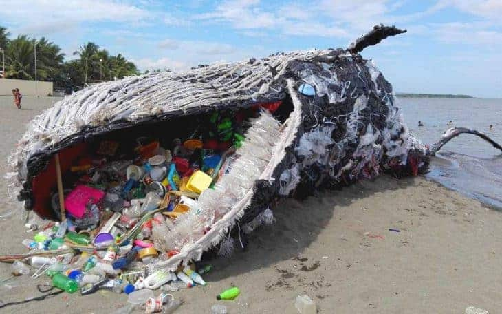 plastic whale created by Green Peace