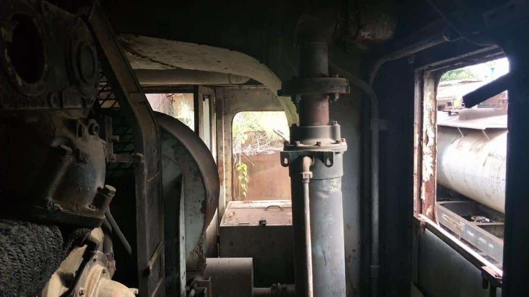 The engine room of an abandoned train.