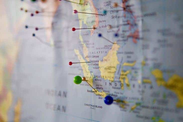 A Map of Southeast Asia With Pins In