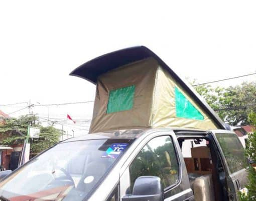 The Camper Van With The Roof Extension Raised