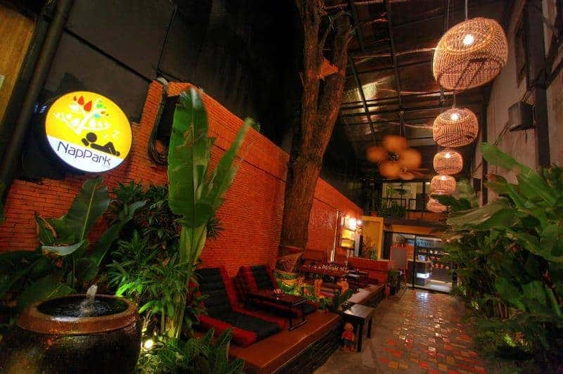 The entrance to NapPark Hostel Bangkok - Voted one of the best hostels in Bangkok!
