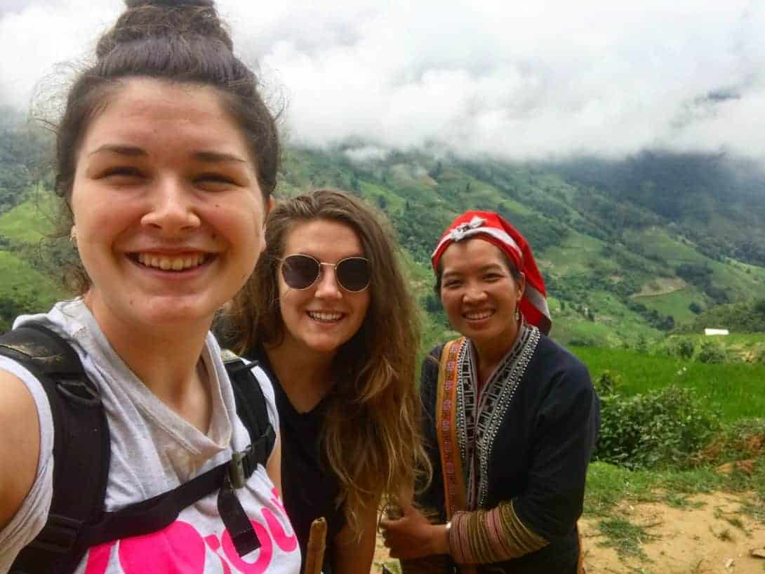 Rosie and Hannah Pose With Their Guide Whilst Trekking Sapa Vietnam