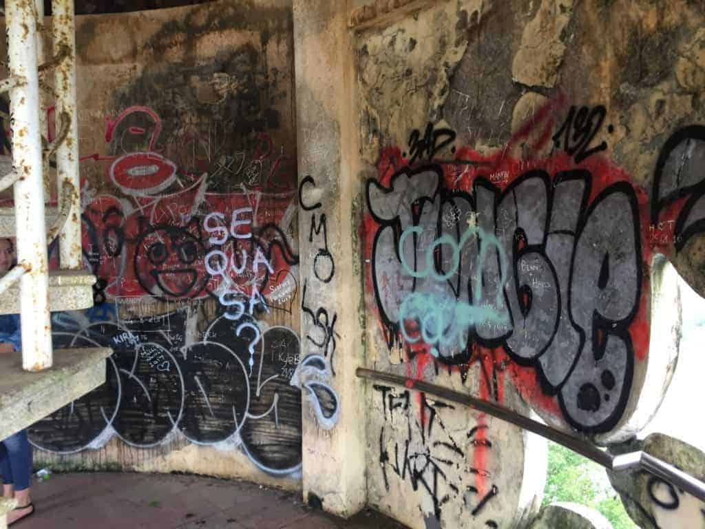 The graffitied walls inside the three-storey dragon.