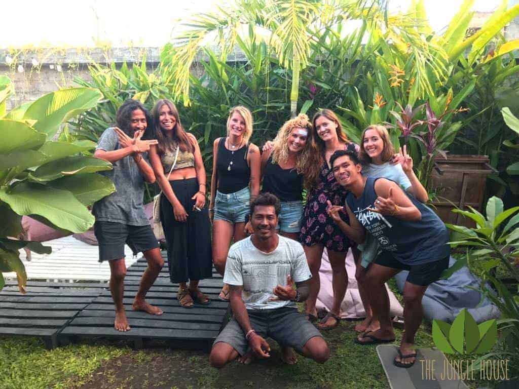 Backpackers encapsulated in the lush greenery at Jungle House