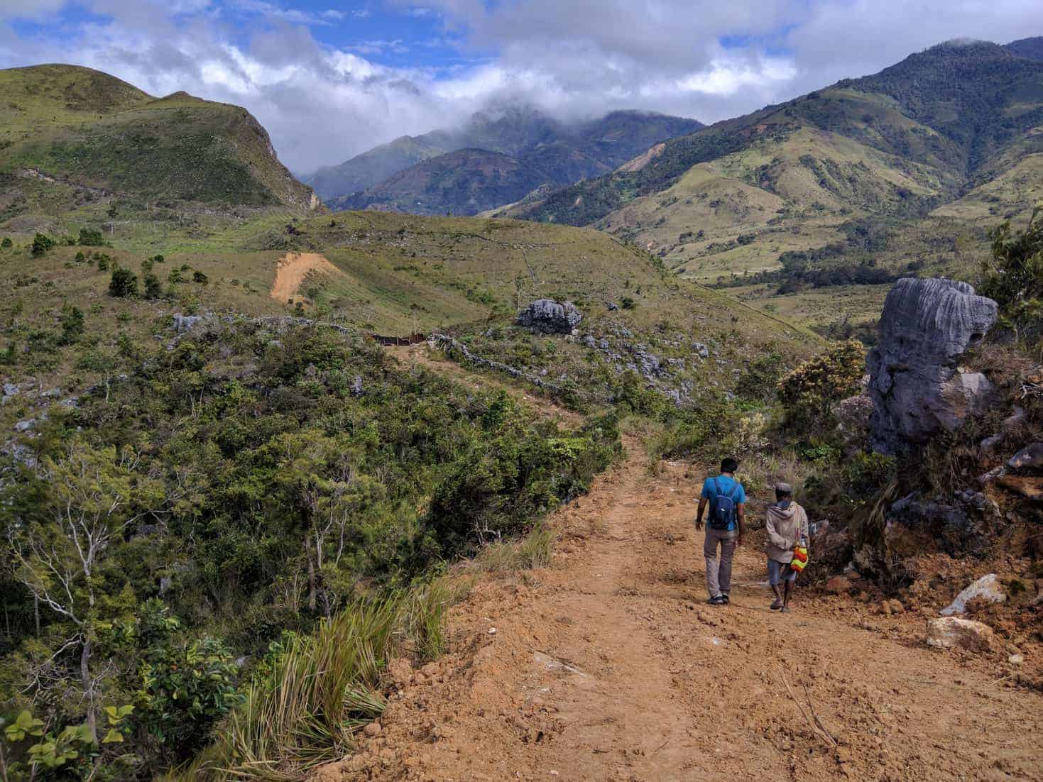 On the mountain trail towards the Baliem Valley, Papua, Indonesia