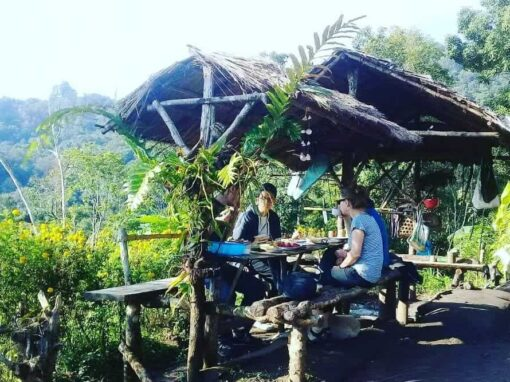 Eating lunch at the campsite on the Doi Inthanon Trek.