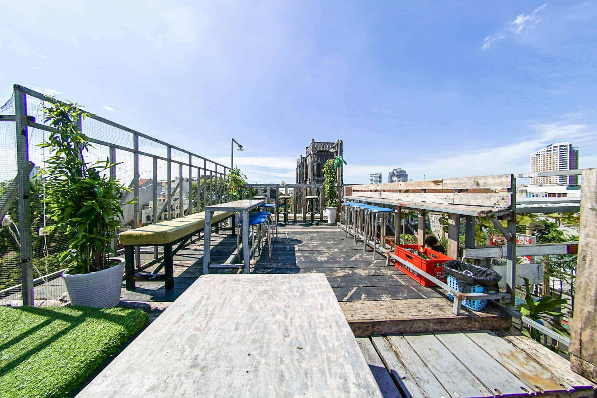 The rooftop bar of Chien Hostel provides a perfect view of the town. Hanoi, Vietnam.