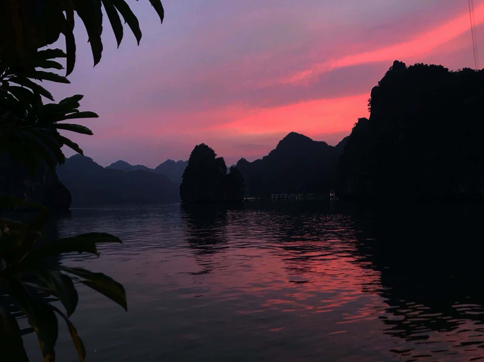 The sunset from Hideaway island, Halong Bay, Vietnam.