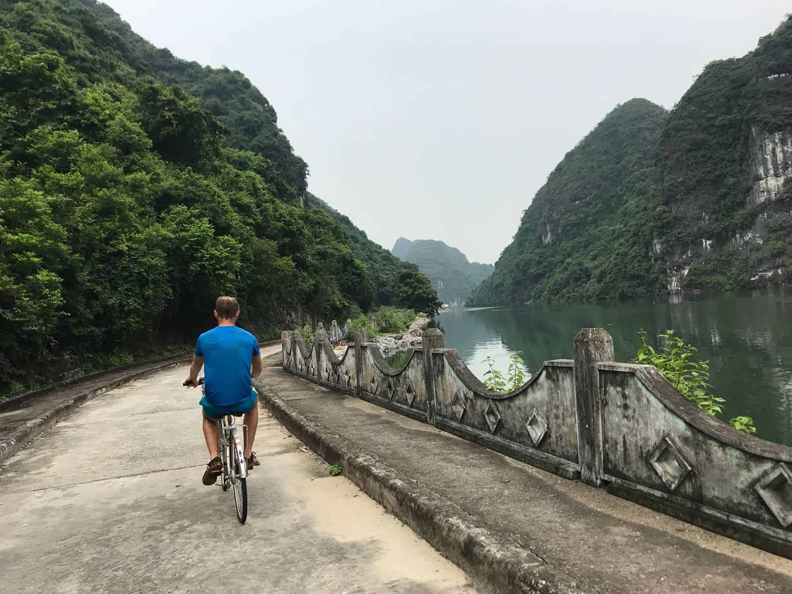 Biking along the water is just one of the activities one can do in Halong Bay, Vietnam