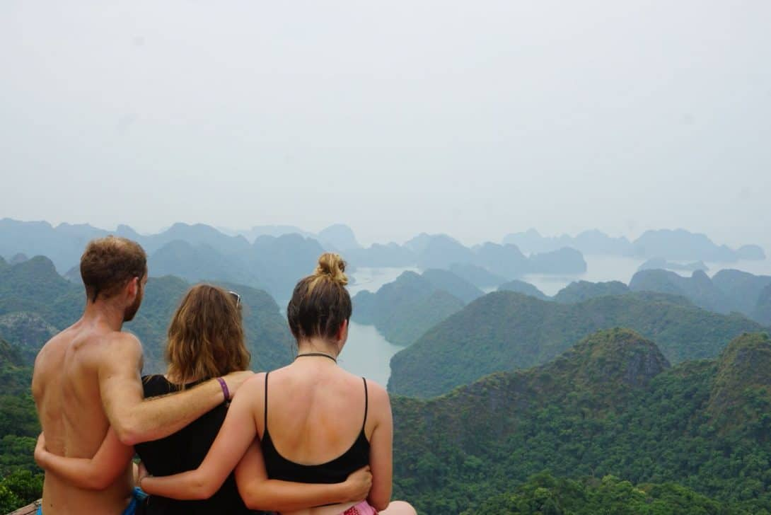 The scenery from the viewpoint after our trek in Halong Bay.