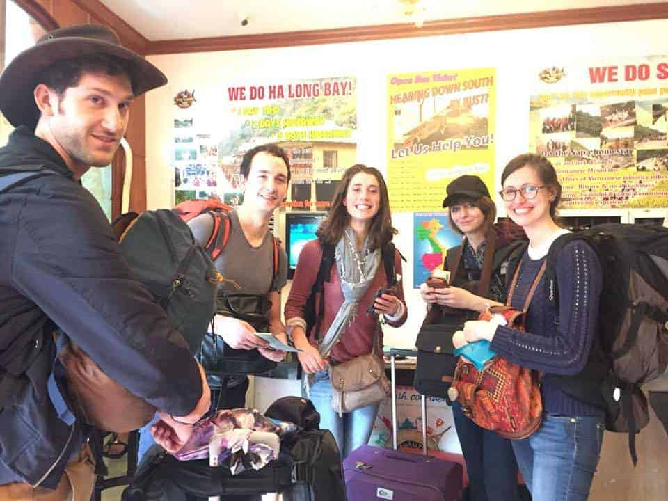 Backpackers preparing for the Halong Hideaway Tour at Central Backpackers Hostel, Vietnam.