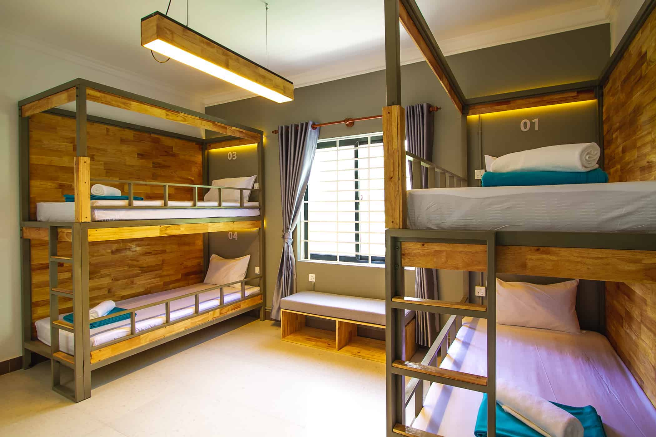 Groovy and comfy sleeping pods in the dormitory room of Sleep Pod Hostel, Siem Reap, Cambodia