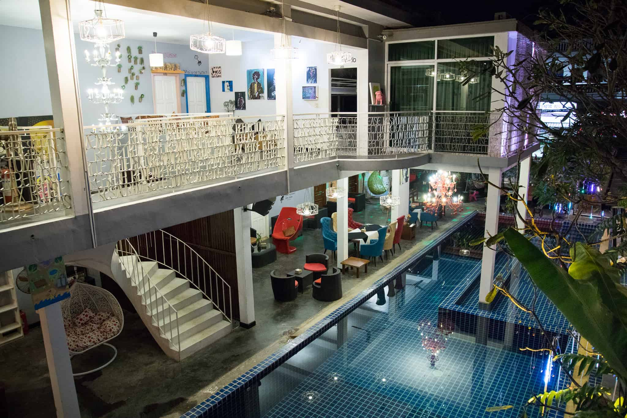 Stretching to 21 meters long, the outdoor pool in White Rabbit Hostel is one of the longest in Siem Reap, Cambodia