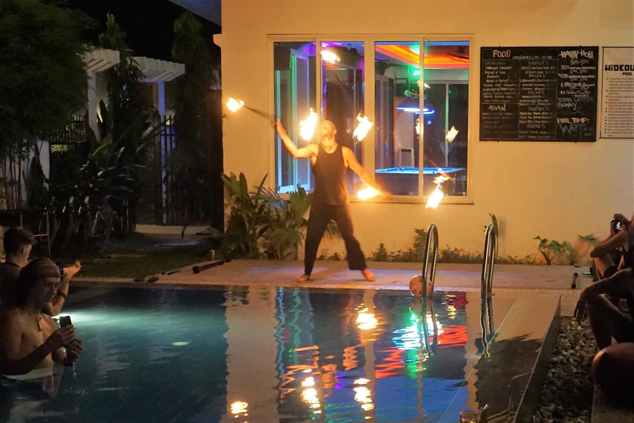 Fire show at The Hideout Hostel, Siem Reap, Cambodia.