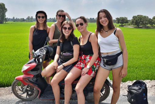 A group of newly made travel buddies on the Mekong Madness Tour, Vietnam!