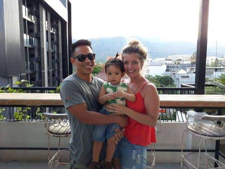 Kischa and Mit with their son in Chiang Mai - Founders of Ethnic Hilltribe Eco Trails