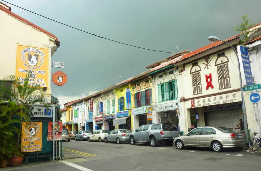 The colourful houses of Little India on a stormy day in Singapore.