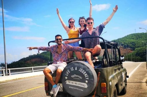 A Group on the Hai Van Pass Jeep Tour