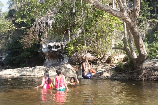 Kids playing in Khao Sok River
