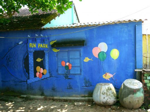 Painted houses at Tam Thanh Mural Village Hoi An