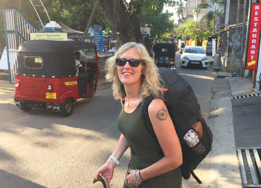 Ali Couch in Sri Lanka with her backpack on. This is the cover image for her article about backpacking in your 50s