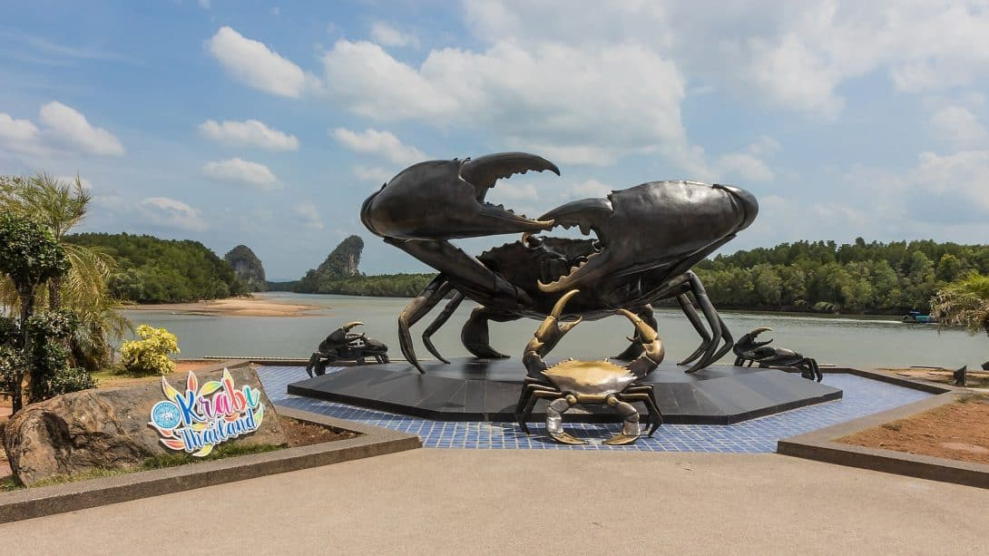 The famous crab sculpture in Krabi Town Thailand